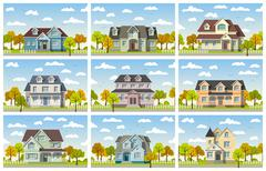Nine classic country house in autumn - stock illustration