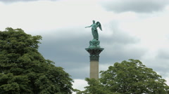 Statue of Concordia on a cloudy day in Palace Square, Stuttgart Stock Footage