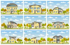 Nine modern houses with barrel roof in autumn - stock illustration