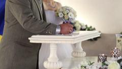 The wedding ceremony marriage  creating official union between a man and a woman Stock Footage