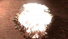 Brick wall break through demolish smash escape to white light 4K - stock footage