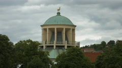 Dome of Palace of Arts (Kunstgebäude) and the golden deer sculpture, Stuttgart Stock Footage