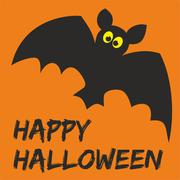 Stock Illustration of Happy Halloween vector party card with bat and hand drawn wishes