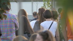 Stock Video Footage of People gathered near Cluj Arena in Cluj-Napoca