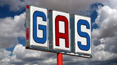 Vintage Gas Sign with Moving Clouds Time Lapse - stock footage