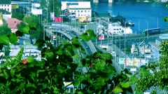 Bridge, urban landscape view of the Dnieper in Kiev Stock Footage