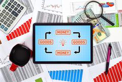 Stock Photo of goods and money scheme