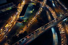 Panama City Traffic Cars On Highway And Streets At Night Stock Photos