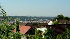 View of the many houses and roofs in the suburb Stock Footage