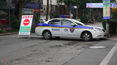 Police Car Blocking Off Street Seoul South Korea Stock Footage