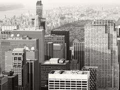 Black and white urban scene in Midtown New York City Stock Photos