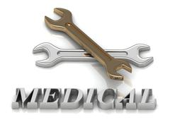 MEDICAL- inscription of metal letters and 2 keys on white background Stock Illustration