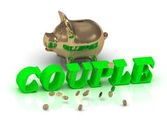 COUPLE - inscription of bright green letters and gold Piggy on white backgrou Stock Illustration