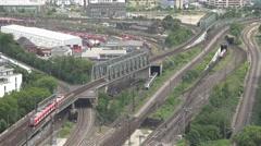 4K Aerial view German railway train traffic multiple rail public transportation  Stock Footage