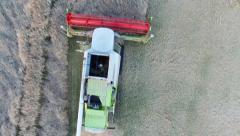 Combine harvester harvesting rapeseed (Aerial View) Stock Footage