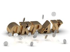 OKPAY - bright gold letters and money on a white background - stock illustration