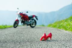 Red shoes with heels Stock Photos