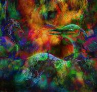 fairy emerald green phoenix bird, colorful ornamental fantasy painting - stock illustration