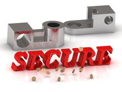 SECURE - inscription of red letters and silver details on white background Stock Illustration