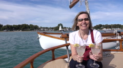 Mature Middle Aged Woman On A Sailing Yacht Stock Footage