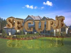SECURE - inscription of bright gold letters on garden and house - stock illustration