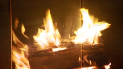 Burning wood in fireplace - stock footage