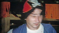1956: Adult Halloween party with pirate costume and others. Stock Footage