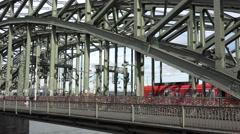 Stock Video Footage of 4K Regional train pass Hohenzollern bridge Koln transport Germany traveler day