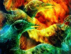 the phoenix bird collage. - stock illustration