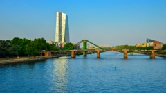 Germany, Frankfurt Am Main, River Main, European Central Bank Building Stock Footage