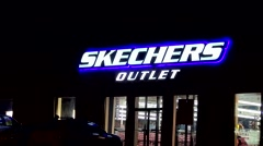 Skechers sneaker shoes, retail storefront Stock Footage