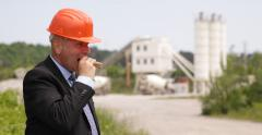 Technical Manager Lunchtime Eating Sandwich Tasty Cheeseburger Building Industry Stock Footage