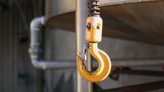 Yellow metal hook Stock Footage