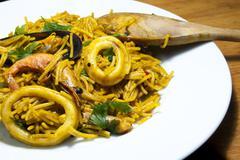 Fideua noodles with seafood, Mediterranean cuisine - stock photo