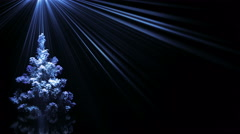Christmas tree in blue light rays loop background 4k (4096x2304) Stock Footage