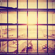 Instagram stylized picture of an airport, travel concept. Kuvituskuvat