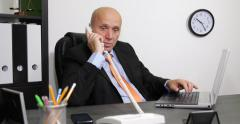 Interior Office Sad Businessman Talk Bad News Landline Phone Call Disappointed Stock Footage