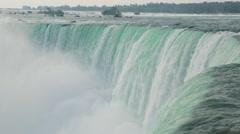 Niagara Falls Huge Waterfall Cascading Hydro-Electric Power Stock Video - stock footage