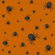 Halloween pattern with spiders. - stock illustration