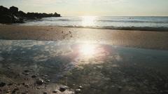Sea sunrise with rocks 6 Stock Footage