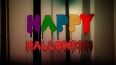 Spooky Forest with Happy Halloween greeting card Stock Footage