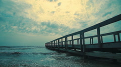 Dock after storm 5 Stock Footage