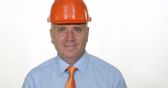 Industry Businessman Engineer Inspector Smile Look Confident TV Camera Interview Stock Footage