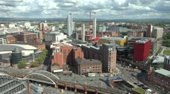 4K Aerial view Manchester crowded downtown traffic street England architecture  Stock Footage