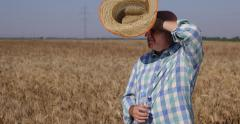 Stock Video Footage of Thirsty Farmer Man Drinking Water Athirst Agronomist Refresh Drink Wheat Field