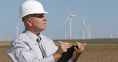 Engineer Job Write Agenda Wind Turbines Checking Maintenance Period Green Energy Stock Footage