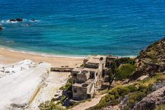 Stock Photo of Beach near abandoned sulfur mines, Milos island, Cyclades, Greece