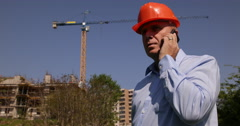 Us Construction Inspector Checking Engineer Man Talking Phone Teamwork Dialogue - stock footage
