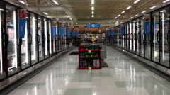 Dairy and fozen food corridor in Save on Foods. Stock Footage