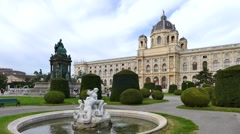 Natural History Museum and Maria-Theresia Monument, Vienna, Austria Stock Footage